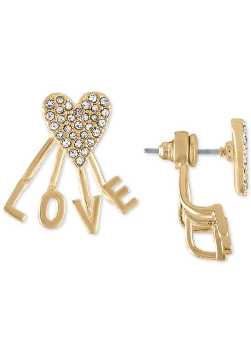 Rachel Rachel Roy Gold-Tone Pave Heart Love Front-and-Back Earrings