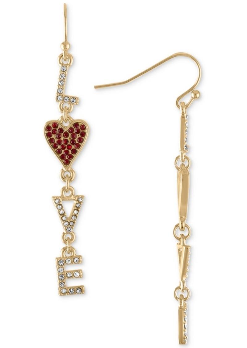 Rachel Rachel Roy Gold-Tone Pave Love Linear Drop Earrings