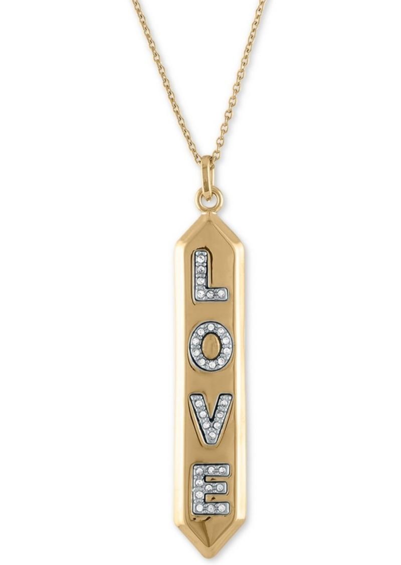 """Rachel Rachel Roy Gold-Tone Pave Love Pendant Necklace, 24"""" + 2"""" extender"""