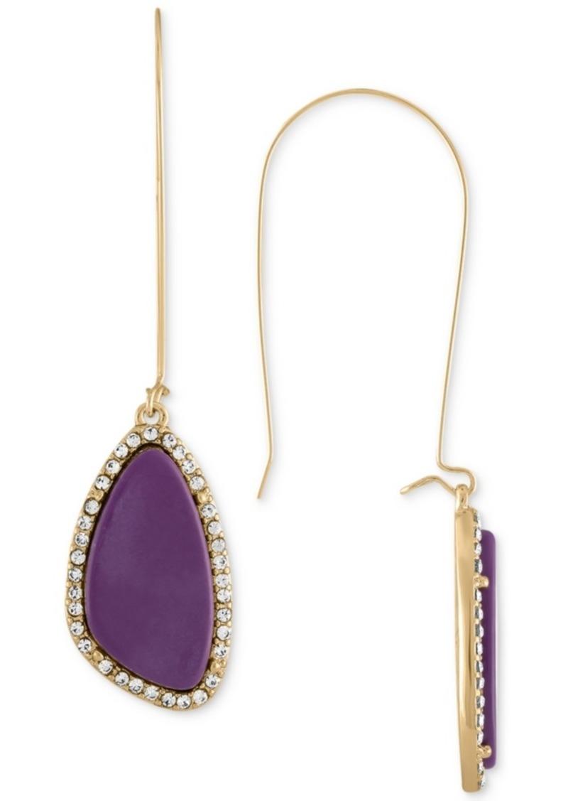 Rachel Rachel Roy Gold-Tone Purple Stone Drop Earrings