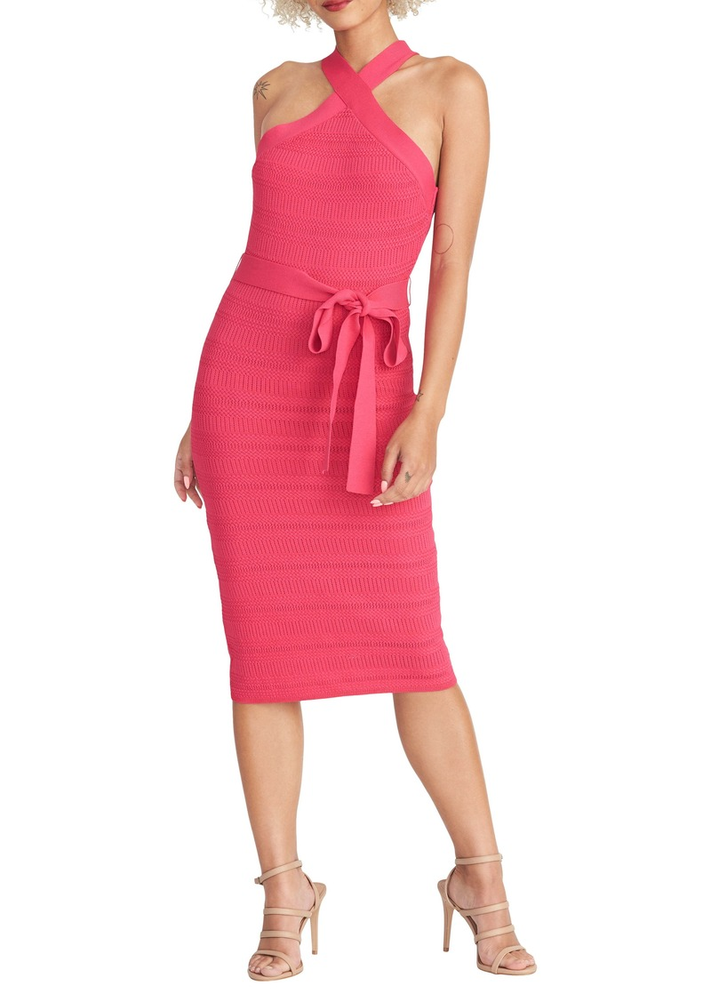 RACHEL Rachel Roy Halter Neck Tie Waist Sweater Dress