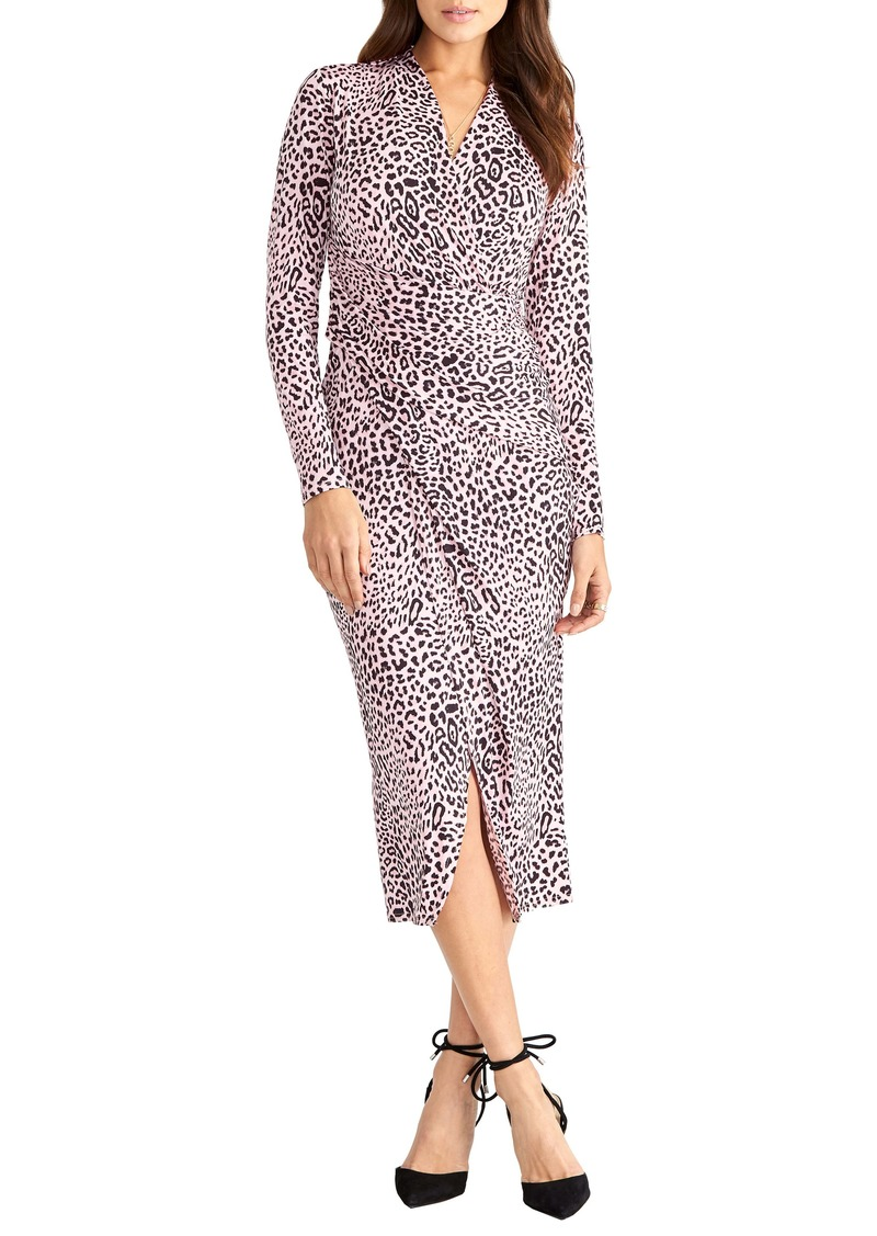 RACHEL Rachel Roy Jaguar Print Ruched Long Sleeve Sheath Dress