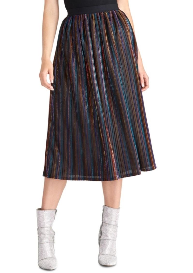 Rachel Rachel Roy Juniors' Metallic-Striped Midi Skirt