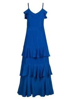 RACHEL Rachel Roy Metallic Ruffle Tiered Midi Dress