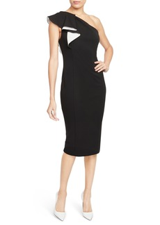 Rachel Roy Collection One-Shoulder Flutter Sheath Dress