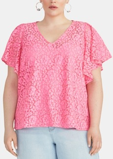 Rachel Rachel Roy Plus Size Lace Flutter-Sleeve Top