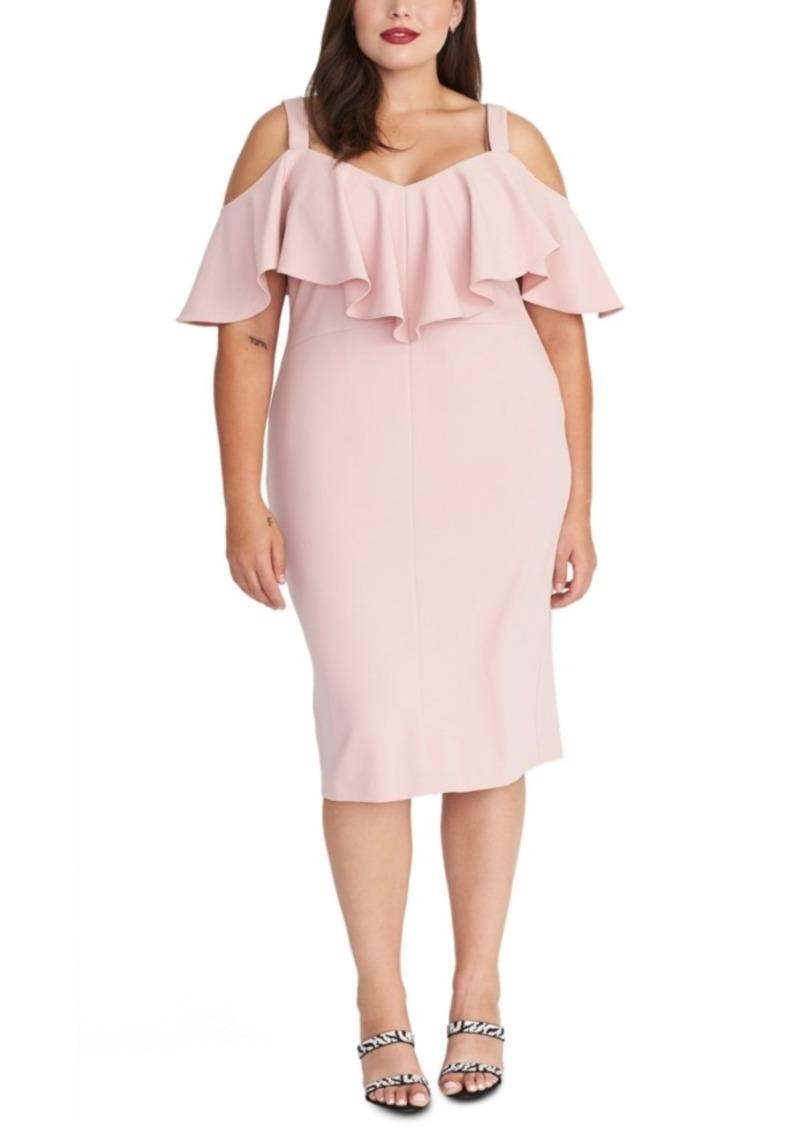 Rachel Rachel Roy Plus Size Marcella Flounce Cold-Shoulder Dress