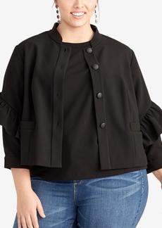 Rachel Rachel Roy Plus Size Ruffle-Sleeve Jacket, Created for Macy's