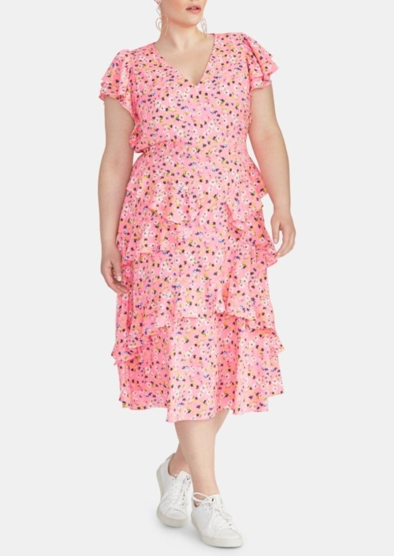 Rachel Rachel Roy Plus Size Ruffled Floral-Print Dress