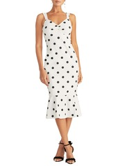 RACHEL Rachel Roy Polka Dot Crepe Midi Dress