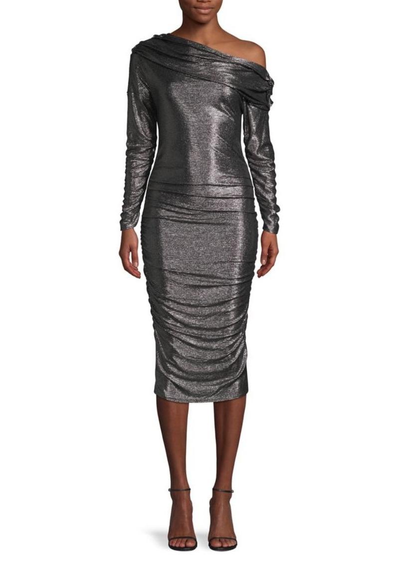 RACHEL Rachel Roy Ruched Metallic Sheath Dress