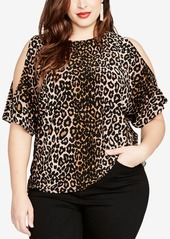 Rachel Rachel Roy Trendy Plus Size Cold-Shoulder Leopard-Print Top