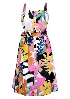 RACHEL Rachel Roy Tropical Floral Belted Sundress (Plus Size)