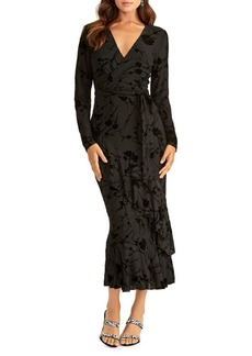 RACHEL Rachel Roy Velvet Faux Wrap Midi Dress