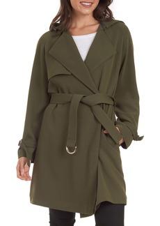 RACHEL Rachel Roy Water Repellent Crepe Hooded Trench Coat