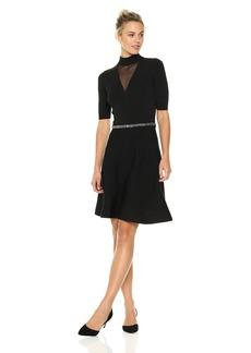 Rachel Rachel Roy Women's Beaded Waist Fit and Flare Sweater Dress  XXL