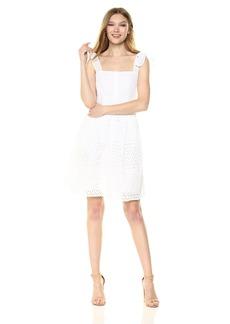 RACHEL Rachel Roy Women's Cotton Eyelet Button Front Fit and Flare Dress