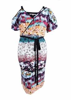 RACHEL Rachel Roy Women's Floral Asymmetrical Draped Dress