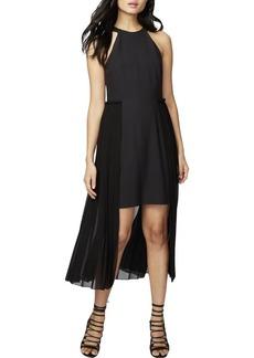 RACHEL Rachel Roy Women's High Neck Crepe Dress with Chiffon Overlay