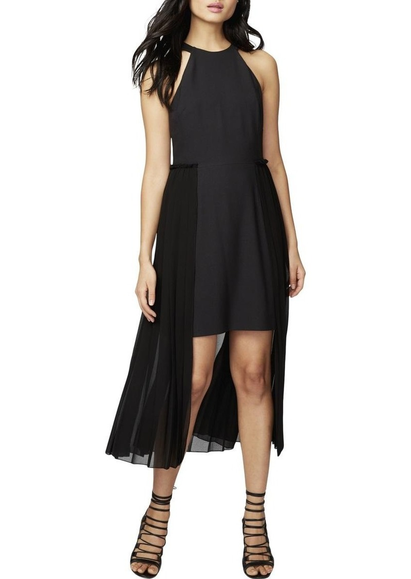 RACHEL Rachel Roy Women's High Neck Crepe Dress with Chiffon Overlay
