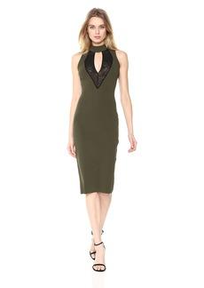 RACHEL Rachel Roy Women's High Neck Mesh Front Midi Knit Dress  XS