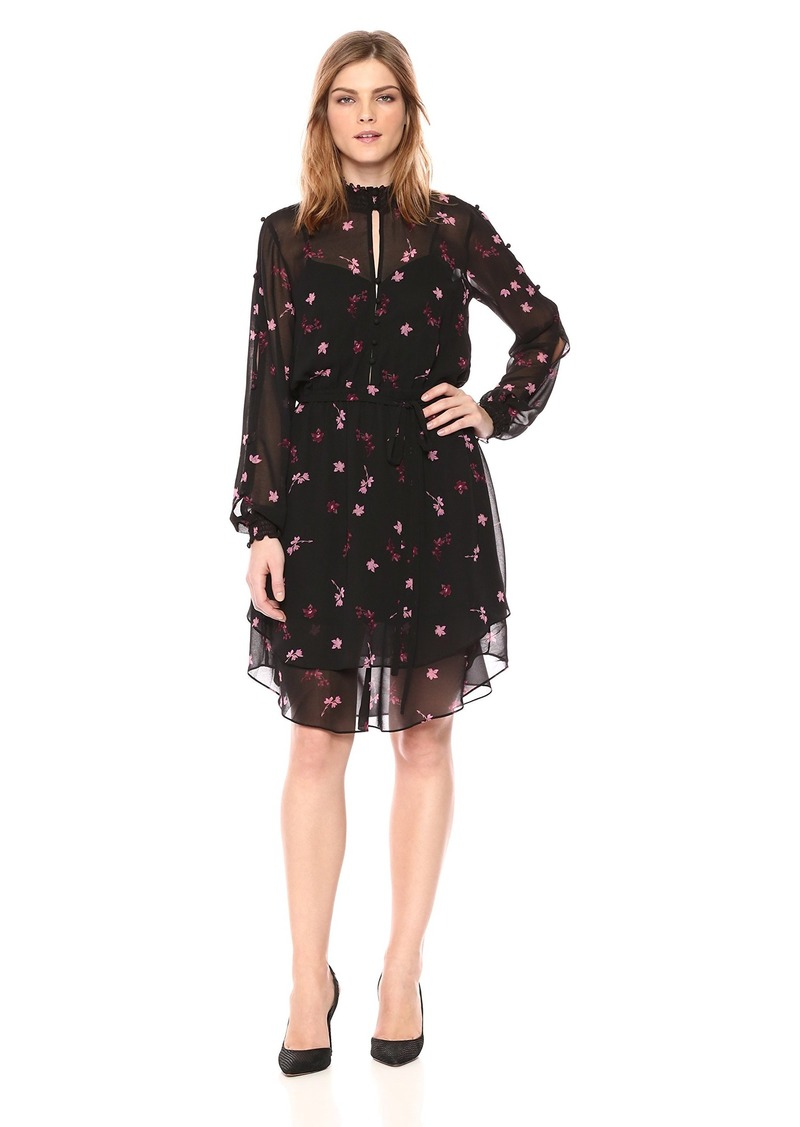 RACHEL Rachel Roy Women's Longsleeve Printed Chiffon Elastic Waist Dress