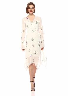 RACHEL Rachel Roy Women's Longsleeve Printed Chiffon V-Neck Dress