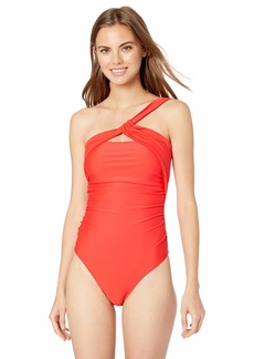 RACHEL Rachel Roy Women's One Piece Swimsuit with Top Strap As Closure at Neck red S