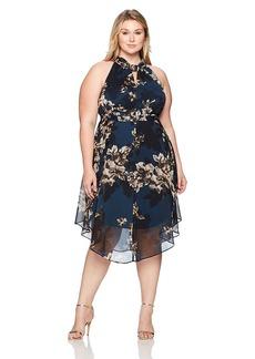 RACHEL Rachel Roy Women's Plus Size Chiffon Midi Dress BLUESTEEL Combo 14W