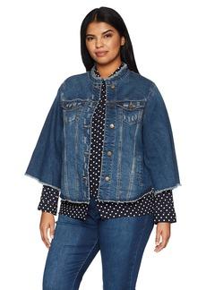 RACHEL Rachel Roy Women's Plus Size Curvy Cropped Bell Sleeve Denim Jacket Felicity Medium wash