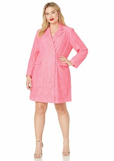 RACHEL Rachel Roy Women's Plus Size Darla LACE Blazer Dress neon Flamingo