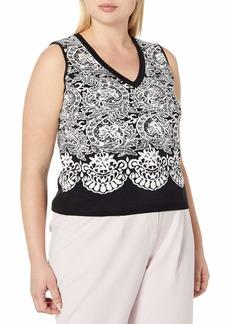 RACHEL Rachel Roy Women's Plus Size Fitted Jacquard Crop Top