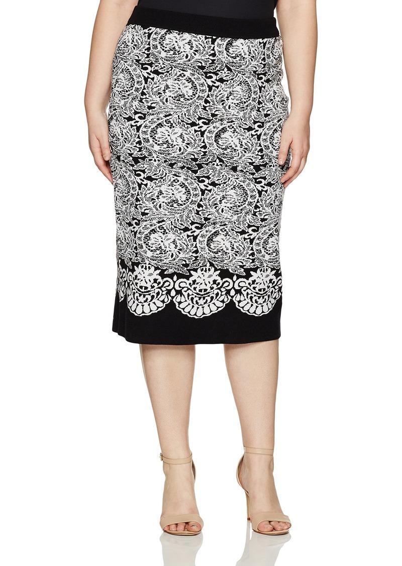 RACHEL Rachel Roy Women's Plus Size Fitted Jacquard Sweater Skirt