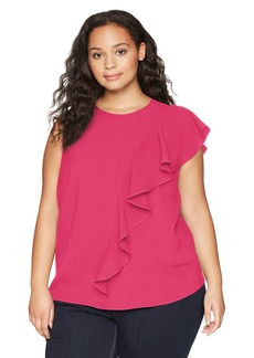 RACHEL Rachel Roy Women's Plus Size Inset Ruffle TOP