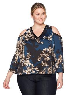 RACHEL Rachel Roy Women's Plus Size Kimono Mix Top BLUESTEEL Combo