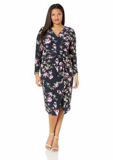 RACHEL Rachel Roy Women's Plus Size Long Sleeve Floral Printed Jersey Dress  1X