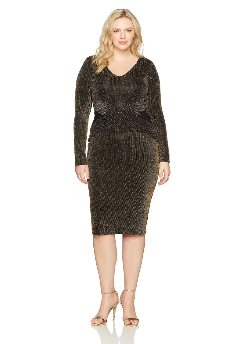 RACHEL Women\'s Plus Size Ls Sparkle Stripe Knit V-Neck Dress 1X