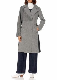 RACHEL Rachel Roy Women's Plus Size Mixed Print Synthetic Wool Long Coat