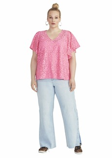 RACHEL Rachel Roy Women's Plus Size Natalie Flutter TOP neon Flamingo