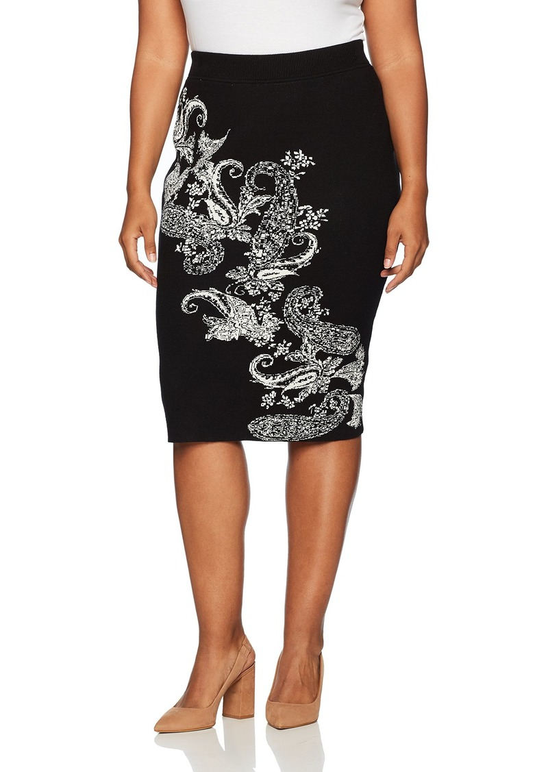 RACHEL Rachel Roy Women's Plus Size Paisley Fitted Skirt