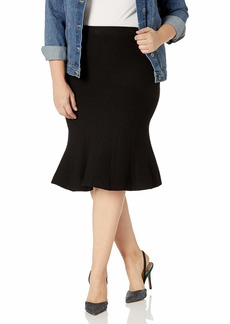 RACHEL Rachel Roy Women's Plus Size Pebble Jacq. Fit and Flare Skirt