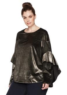 RACHEL Rachel Roy Women's Plus Size Ruffle Sleeve Sweatshirt