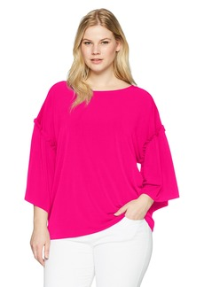 RACHEL Rachel Roy Women's Plus Size Ruffle SLV TOP
