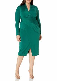 RACHEL Rachel Roy Women's Plus Size Solid Long Sleeve Jersey Bret Dress