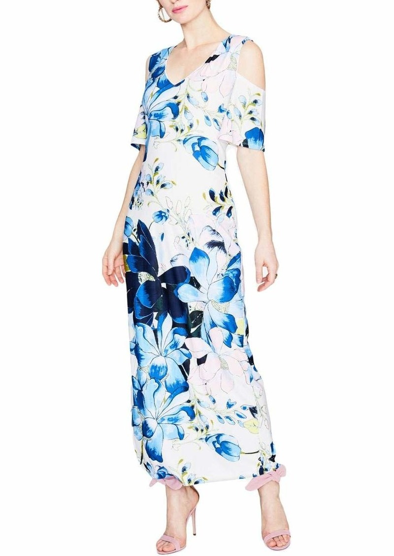 RACHEL Rachel Roy Women's Printed Cold Shoulder Jersey Maxi Dress  L