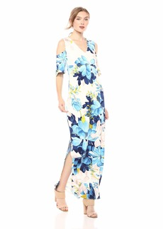 RACHEL Rachel Roy Women's Printed Cold Shoulder Jersey Maxi Dress  XXL
