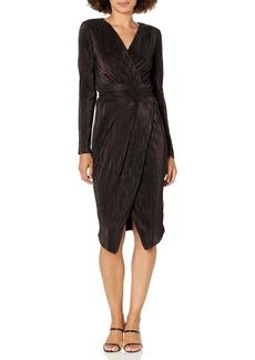 RACHEL Rachel Roy Women's Ribbed Knit Faux Wrap Dress DOC Marten/Black S