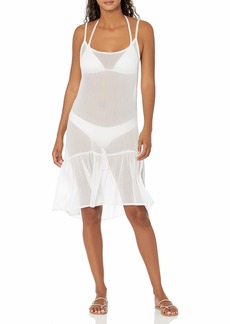 RACHEL Rachel Roy Women's Ruffle Hem Dress Style Swim Coverup  L