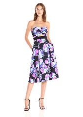 RACHEL Rachel Roy Women's Strapless Printed Fit and Flare Midi Electric Flower toss