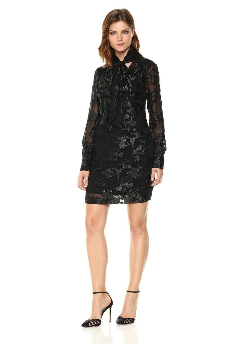 RACHEL Rachel Roy Women's Tie Nk Jacquard Chiffon Dress